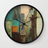 cityscape Wall Clocks featuring ESCAPE ROUTE by Liz Brizzi