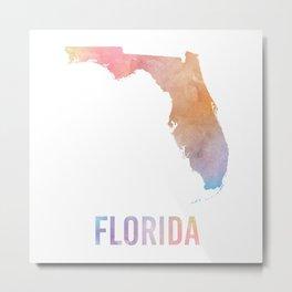 Watercolor State - FL Metal Print
