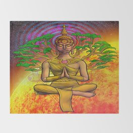 Psychedelic Buddha Throw Blanket