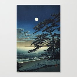 Moon over Ninomiya Beach by Kawase Hasui - Japanese Vintage Woodblock Ukiyo-e Painting Canvas Print
