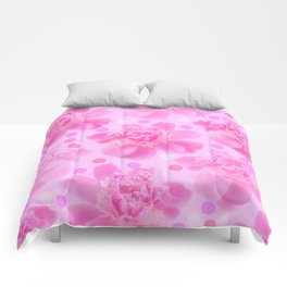 Cute and girly - pink flowers and dots - pink tones - #society6 #buyart Comforters