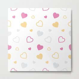 Stylized hearts pattern Metal Print