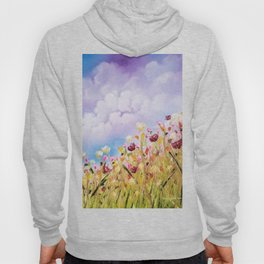 Look to the light, skyscape, landscape, flowers, wild flowers, clouds Hoody