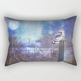 The Northern Harrier and The Moon Rectangular Pillow