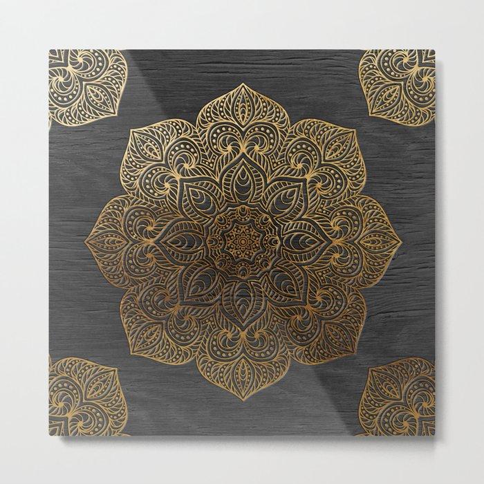 Wood Mandala - Gold Metal Print