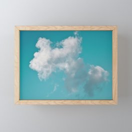 Floating cotton candy with blue green Framed Mini Art Print