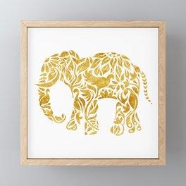 Floral Elephant in Gold Framed Mini Art Print