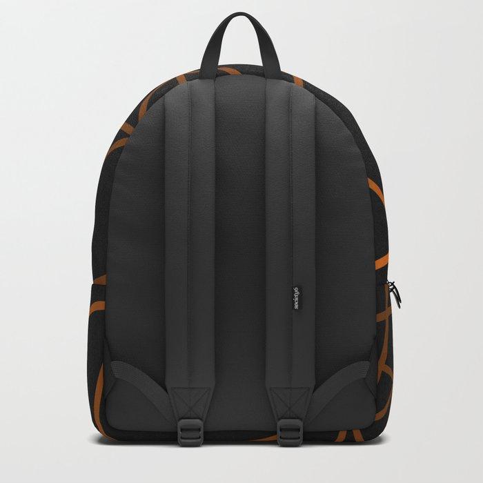 Golden Web - Black And Gold Geometric Design Backpack