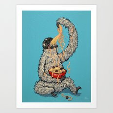 Three Toed Sloth Eating Spaghetti From a Bowl Art Print