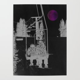 Inverted Ski Lift to the Moon Poster