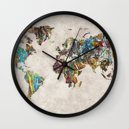 World Map 28 Wall Clock