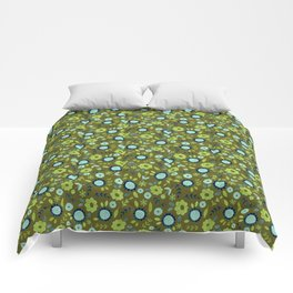 Apple green and dark blue flower-pattern on olive background Comforters