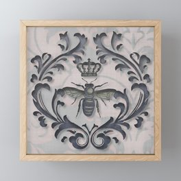Pink and Gray Vintage Damask French Bee Framed Mini Art Print