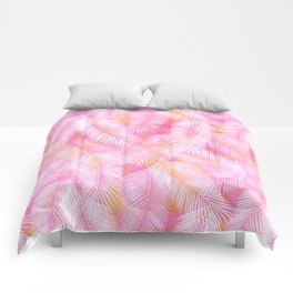 Pink Flamingo Feather Pattern Comforters
