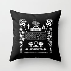 Sweet Ouija Board (White on Black) Throw Pillow