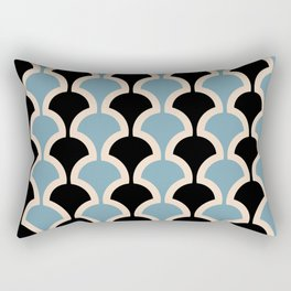 Classic Fan or Scallop Pattern 443 Black and Blue Rectangular Pillow