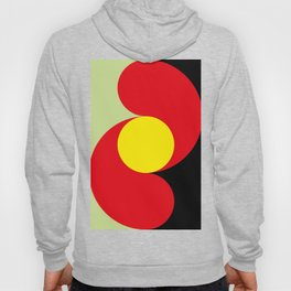 This is a sun splitting the sky in two sides, one black, one green. Spitting deep red round rays. Hoody