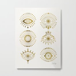 Evil Eyes – Gold Palette Metal Print
