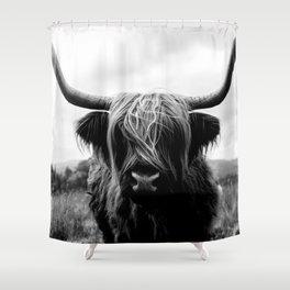 Scottish Highland Cattle Black and White Animal Shower Curtain