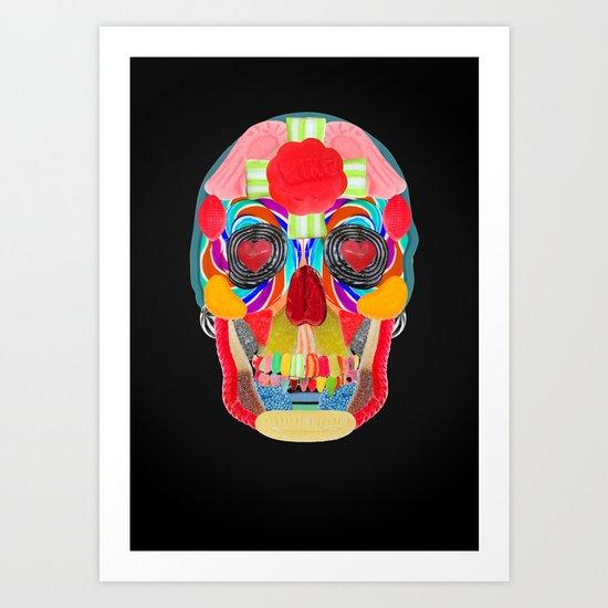 Sweet Sweet Sugar Skull On Black Art Print