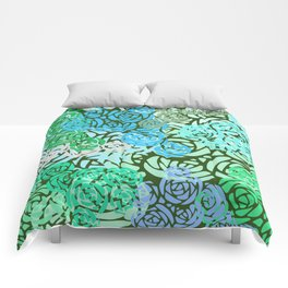 Colorful Overlapping Roses on Roses Print Design 2 Comforters