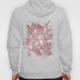 Soft Pink Coral Glamour Gemstone Triangles Hoody