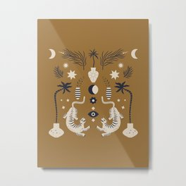 Mid Century Magic Cool Minimal Minimalist Neutral Tones Fantasy Abstract Illustration Moon Sun Tiger Chinese Zodiac Metal Print