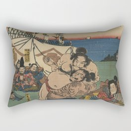 A game of Sumo Wrestling. Rectangular Pillow