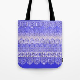 crochet lace mixed in blue Tote Bag