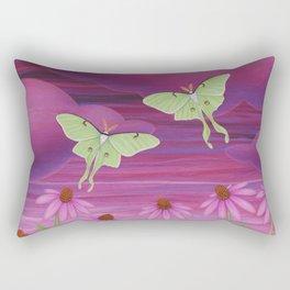 echinacea daydream with luna moths and snails Rectangular Pillow