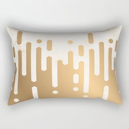 Marble and Geometric Diamond Drips, in Gold Rectangular Pillow
