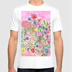 HAPPY FLOWERS White Mens Fitted Tee MEDIUM