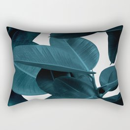 Indigo Plant Leaves Rectangular Pillow