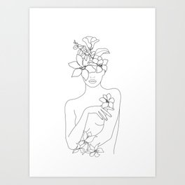 Minimal Line Art Woman with Flowers IV Art Print