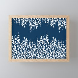 Pussywillow Silhouettes — Midnight Blue Framed Mini Art Print