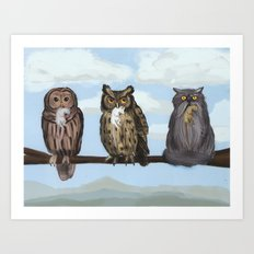 One of These Things is Not Like the Others (aka 'Hoot! Hoot? Mrowr.') Art Print