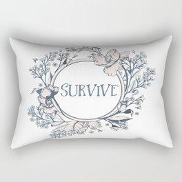 SURVIVE - A Floral Print Rectangular Pillow