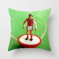 arsenal Throw Pillows featuring Arsenal Subbuteo Player 1989 by Tabletop Legends