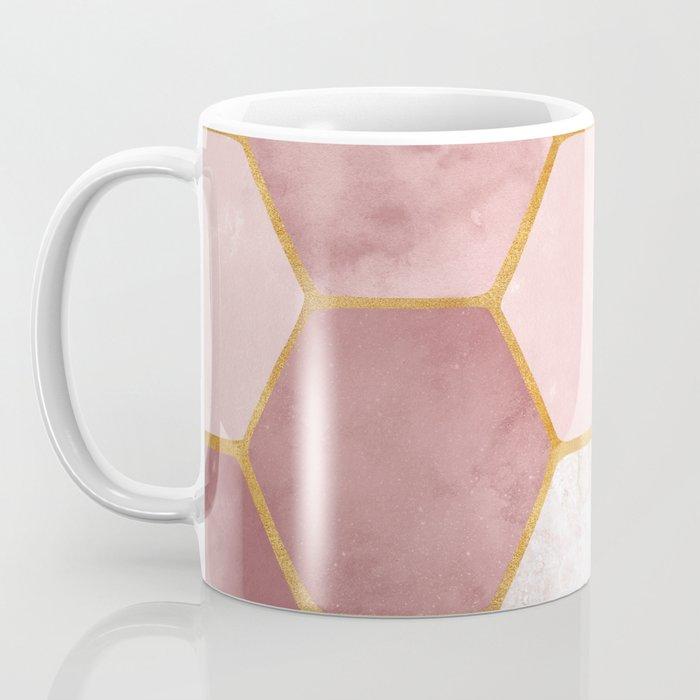 Pink and Gold Hexagon Print Coffee Mug