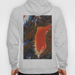 Marbled Orange - Fluid, blue and orange, original, acrylic abstract Hoody