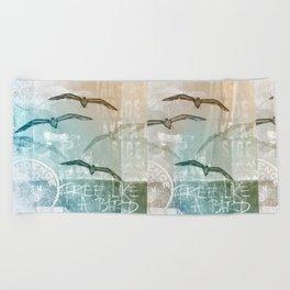 Free Like A Bird Seagull Mixed Media Art Beach Towel