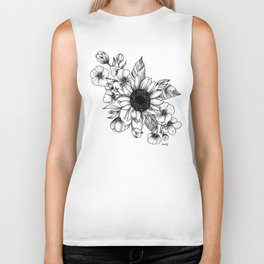 Bouquet of Flowers with Sunflower / Fall floral lineart Biker Tank