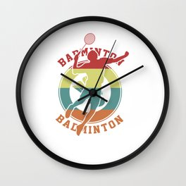 Badminton Retro Racquet Court Racket Net Rally Shuttlecock Gift Wall Clock