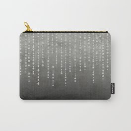 Silver Glamour Faux Glitter on grey Texture Carry-All Pouch