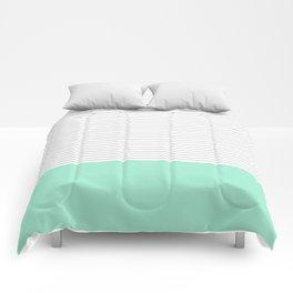 Minimal Gray Stripes - Mint Comforters