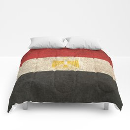 Old and Worn Distressed Vintage Flag of Egypt Comforters