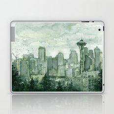 Seattle Skyline Watercolor Space Needle Emerald City 12th Man Art Laptop & iPad Skin