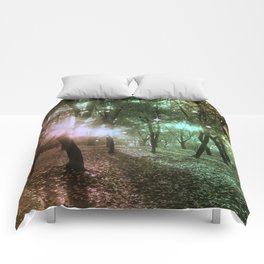 Forest by dawn in green, yellow and fuchsia light Comforters