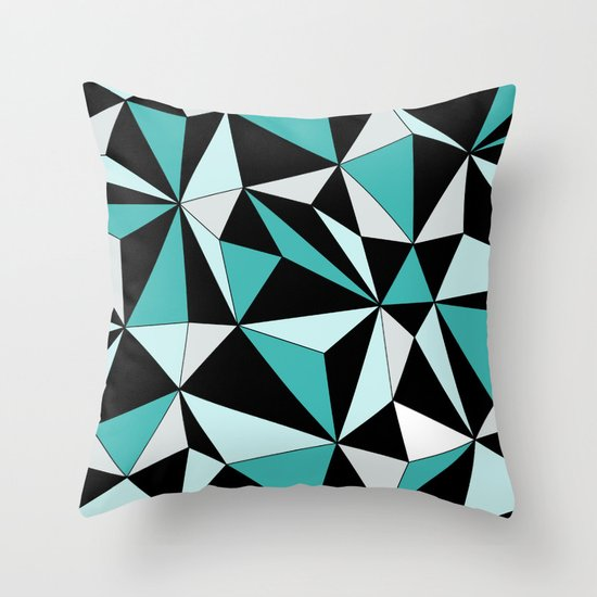 Geo - blue, gray and black. Throw Pillow