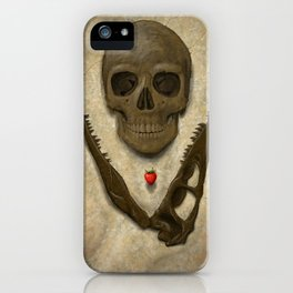 Impermanence - Velociraptor and Human Skull iPhone Case
